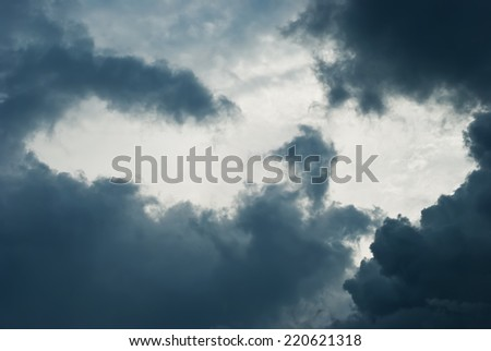 Only gloomy sky with cumulonimbus surround from all directions. To a photo color toning is applied - stock photo
