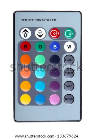 Only infrared remote control keyboard for domestic motley LED -lighting. Isolated on white background. Studio photography. - stock photo