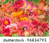 Only Red flowers summer collage floral background mix - stock photo