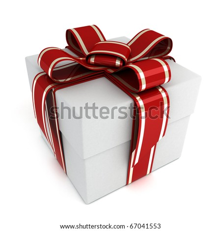 Only white gift (done in 3d, isolated)