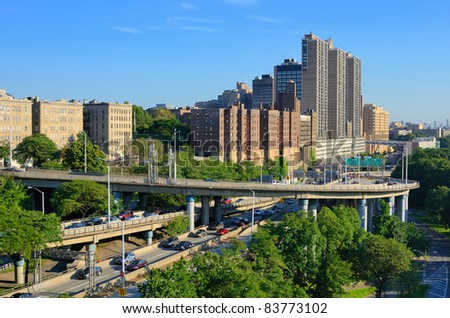 Onramps and highways on the upper west side of Manhattan. - stock photo