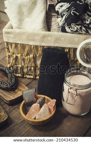 Onsen series : onsen equipment - stock photo