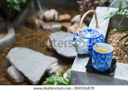 Onsen series : Tea set in garden - stock photo
