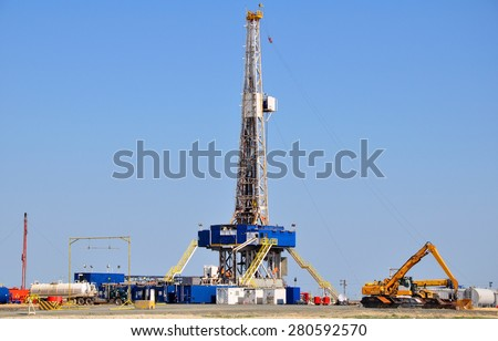 Onshore drilling rig - stock photo