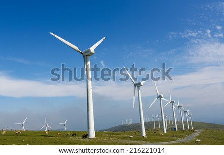 Onshore wind farm in the Northern part of Galicia, Spain. - stock photo