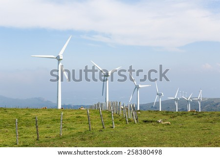 Onshore wind turbine farm in the Northern part of Galicia, Spain. - stock photo