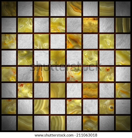 Onyx and metal Chess Board / Empty chessboard with squares of gray metal and green, yellow and orange onyx - stock photo