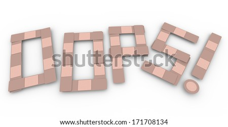 Oops Bandage Word Accident Injury Treatment Healing - stock photo
