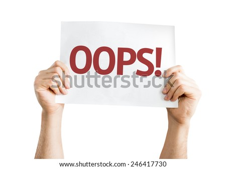 OOPS! card isolated on white background - stock photo