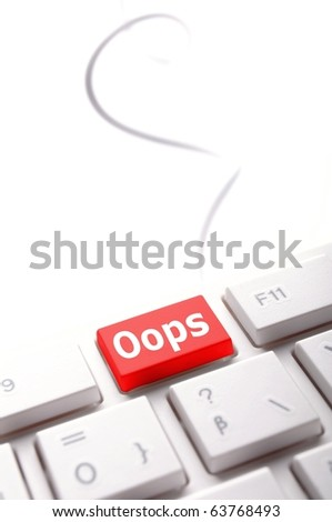 oops key on computer keyboard showing mistake concept