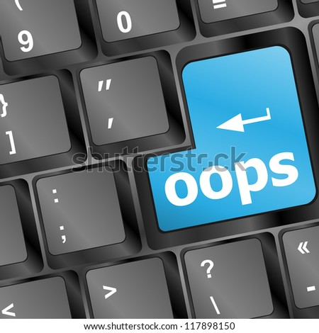 oops word written in white on blue computer keys, raster - stock photo
