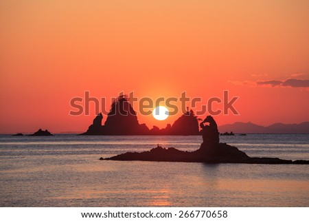 Ootago coast of sunset, Izu, Shizuoka, Japan - stock photo