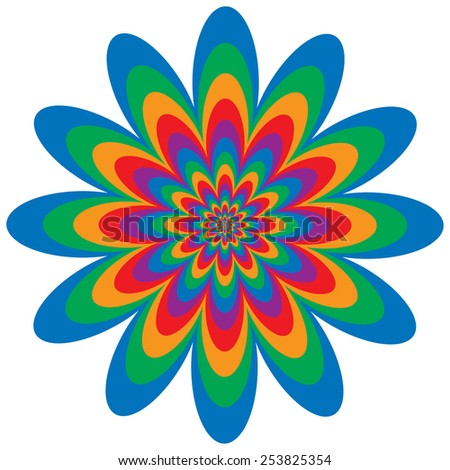 Op Art Flower optical illusion design in primary and secondary colors. - stock photo