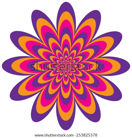 Op Art Flower optical illusion design in purple, pink and orange. - stock photo
