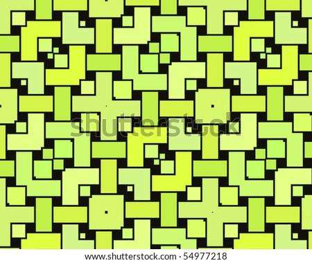 Op Art Interlocked Rectangles Light Green Hues - stock photo