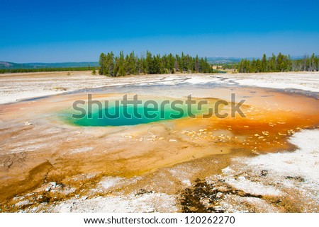 Opal Pool in Yellowstone National Park - stock photo