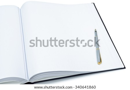 Open a blank white book and pen on isolated background - stock photo