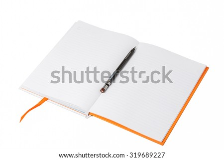Open a blank white notebook and pen on white background