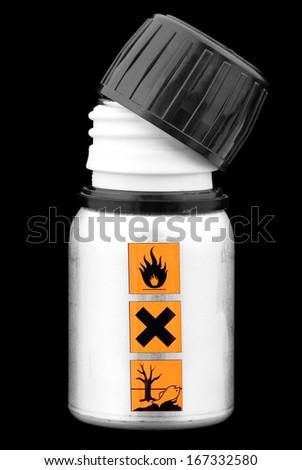 Open a bottle marked warning signs-hazardous liquid. - stock photo