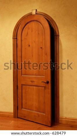 Open A Crack Round Top Door