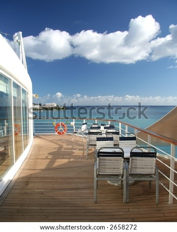 Open air bistro on a cruiseship - stock photo
