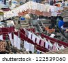 Open-air laundry, Mumbai, India - stock photo