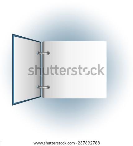 Open album on blue background - stock photo