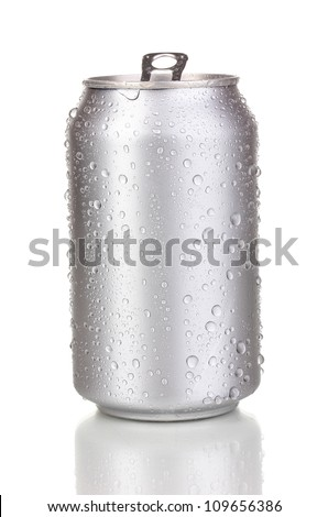 Open aluminum can isolated on white