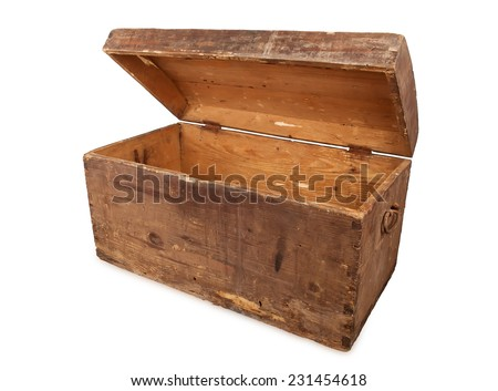 open ancient wooden treasure chest isolated on white background, studio shot - stock photo
