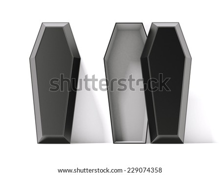 Open and closed black coffins - stock photo