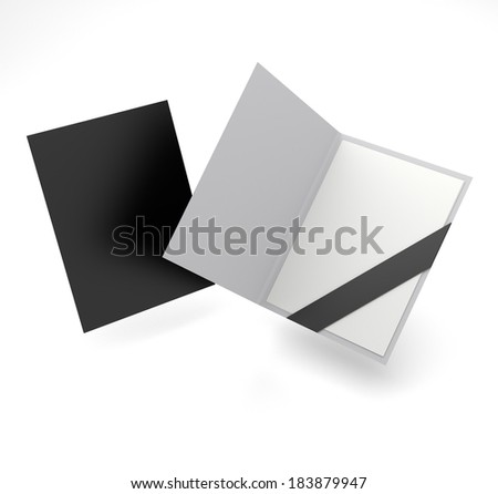 open and closed black folder in A4 size on white