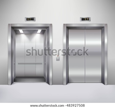 Open and closed chrome metal office building elevator doors realistic  illustration