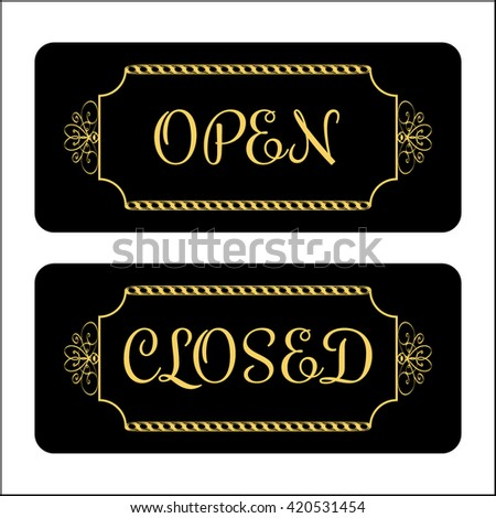 Open and Closed door Sign. Effect of gold. Print symbols for store, shop, cafe, hotel, business office, etc. Informative icon. Vintage signboard isolated on white background. Stock illustration