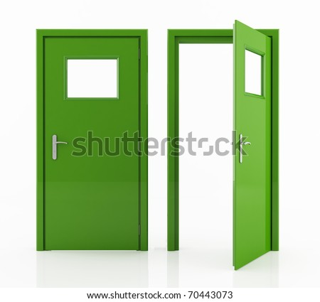 open and closed green door isolated on white - rendering