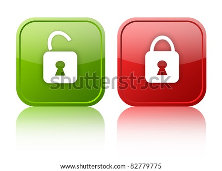 Open and closed lock buttons - stock photo