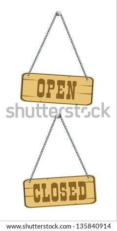 open and closed signs isolated over white - stock photo