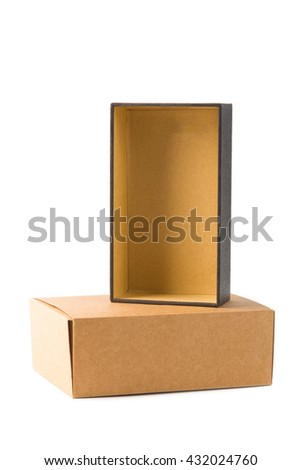 Open and closed two cardboard Box or brown paper package box isolated with soft shadow on White background - stock photo