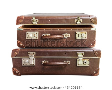 Open and closed vintage brown suitcase on white background