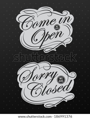 open closed vintage retro signs can stock illustration 186991376