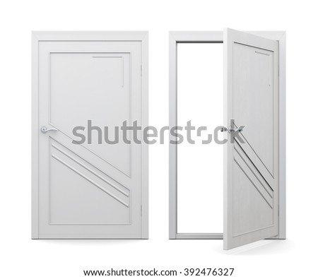 Open and closed white door isolated on white background. 3d rendering.