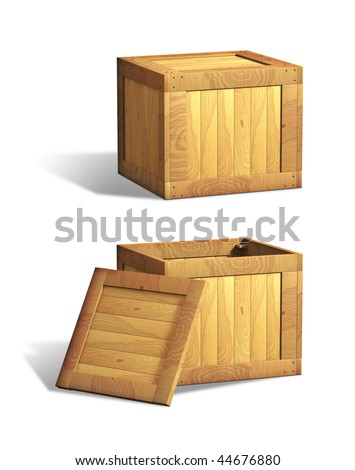 Open and closed wooden crates. Digital illustration, clipping path included.