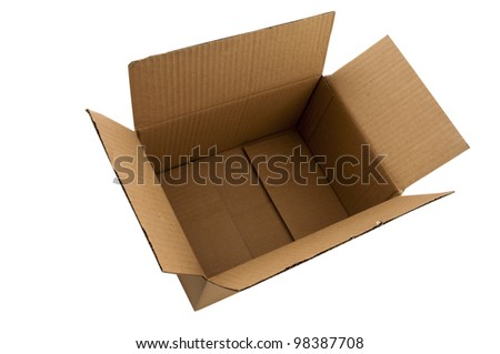 Open and empty cardboard box.Shot from directly above. Isolated on white background. - stock photo