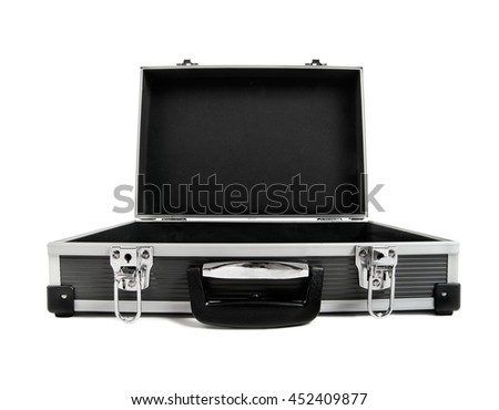open armored black case for money, on white background; isolated