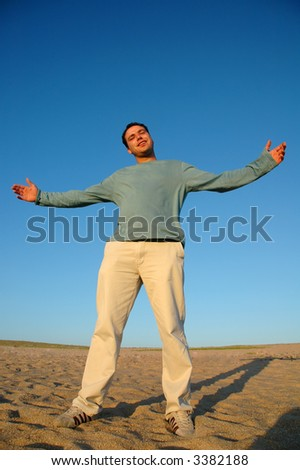 open arms happy man - stock photo