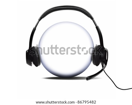Open audio headset with a micro  (clipping path )
