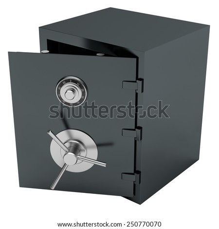 Open Bank Steel Safe. Isolated on White Background.