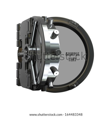 open bank vault door isolated on white background High resolution 3d  - stock photo
