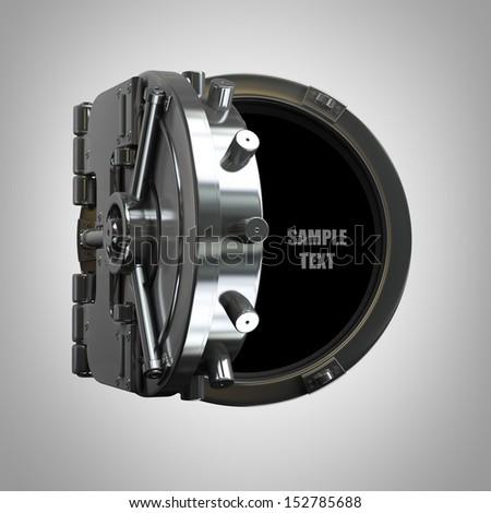 open bank vault  High resolution 3d render  - stock photo