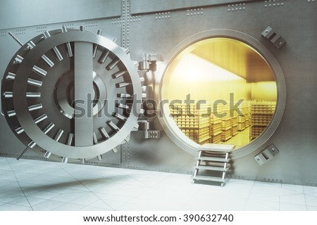 Open bank vault with golden walls and gold stacks. 3D Render - stock photo