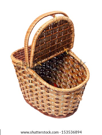 open basket for picnic isolated on white - stock photo